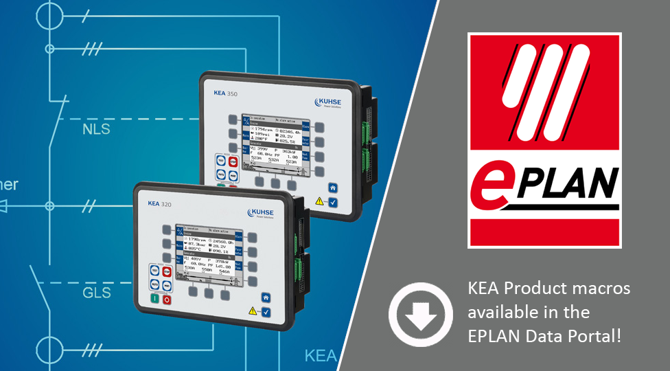 single line diagram with KEA 320 / KEA 350 and note that KEA product macros are available in EPLAN Data Portal