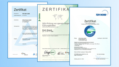 Zertifikate: TUEV, WHG, Siemens Solution Partner Automation Drives